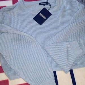 Missguided Sweaters - NWT MISSGUIDED RIBBED CROP SWEATER PUFF ARMS L