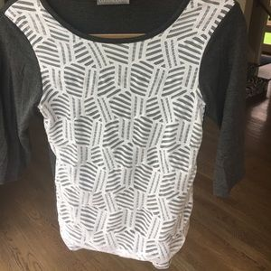 Loveappella Tops - Lace front grey top