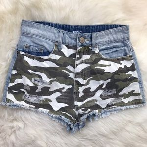 Urban Outfitters Pants - BDG Blue Camo Front High Rise Denim Shorts