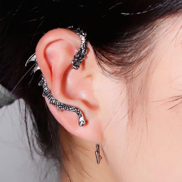 Feminine Edge Jewelry Dragon Ear Cuff In Silver Game Of Thrones