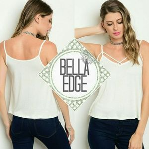 Bella Edge Tops - 🆕 MEGHAN White ribbed cross strap front tank