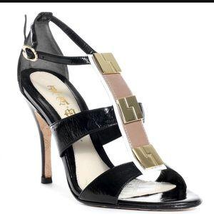 L.A.M.B. Shoes - l.a.m.b gillie black and gold heel