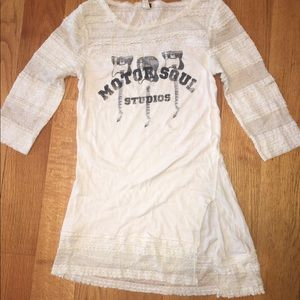 Free People lace band message tee SALE