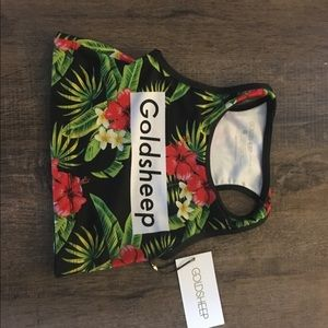 Goldsheep Tops - Goldsheep Tropical Floral Crop Top, NWT