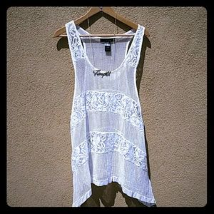 Ali miles  Tops - XL WHITE LACE FLOWY SUMMER BLOUSE