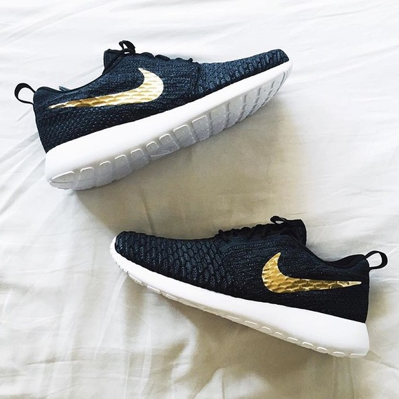 46% off Nike Shoes - Nike Black Roshe Run - Gold Swoosh ...