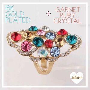 Jewelry - Vibrant 18k gld +ruby + garnet large ring sz 7.5