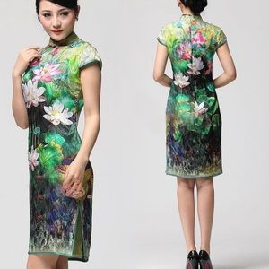 Dresses & Skirts - SALE Neon Lotus Qipao Asian Mandarin Chinese Dress