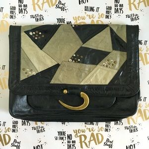 Cleobella Handbags - 🔥RARE🔥Cleobella Studded Leather Patchwork Clutch