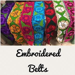 New Mexican Embroidered Floral Belts Adjustable