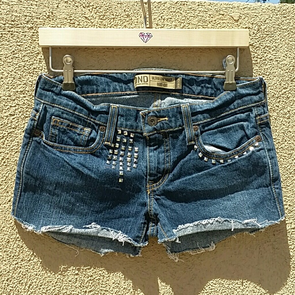 Old Navy Pants - OLD NAVY BLUE SHORTS HAND UPCYCLED STUDDED SZ 2