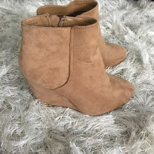 Faux suede ankle wedge booties
