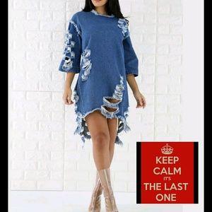 a89b7f454 Dresses   Skirts - Ripped jean dress nwot
