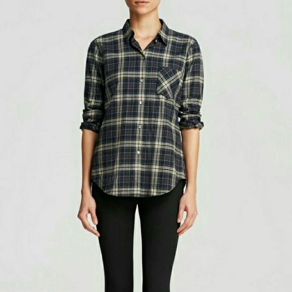 55 Off Theory Tops Euc Theory Green Plaid Button Down