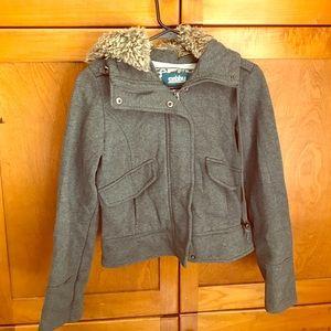 Sebby Jackets & Blazers - Gray faux fur hooded zip up jacket.