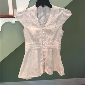 Odille Tops - Odille Lace shirt cream capped sleeve.  Size 2.