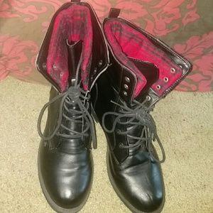 Dollhouse Shoes - Red Plaid Combat Boots
