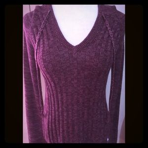 Roxy Ribbed Marbled V-Neck Sweater Hoodie-Size XS