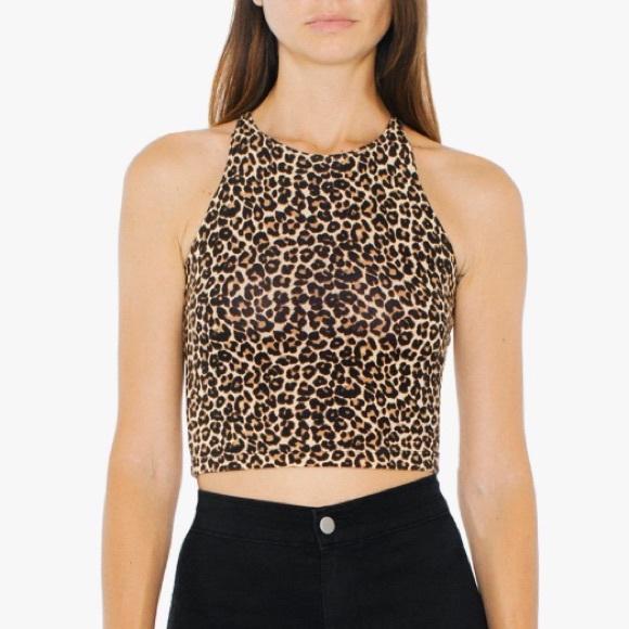 a96fd18c0e6 NWT: AMERICAN APPAREL Leopard Sleeveless Crop Top NWT