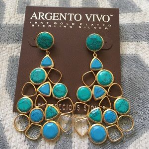 Argento Vivo Jewelry - Argento Vivo Turquoise and Gold Earrings