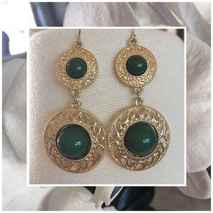 Jewelry - Gold & Green Drop Earrings