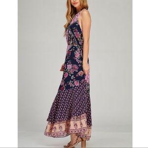 Bellanblue Dresses - SHILOH print halter maxi - NAVY MIX