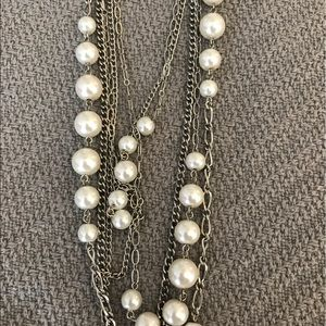 Jewelry - Silver and pearl multi-strand necklace
