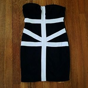 NWOT Forever 21 black and white bodycon dress  M