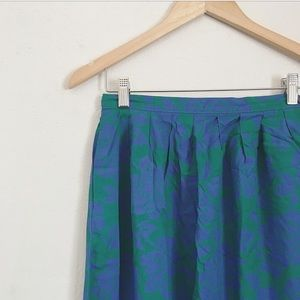 Blue and green floral midi skirt.
