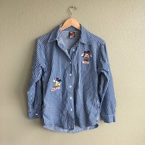 Vintage Disney Embroidered Striped Button Down