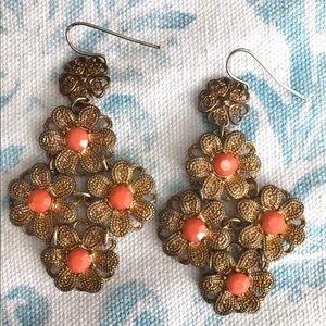 Jewelry - Vintage Filigree Style Earrings with Faux Coral