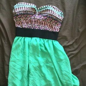 Printed top, halter dress