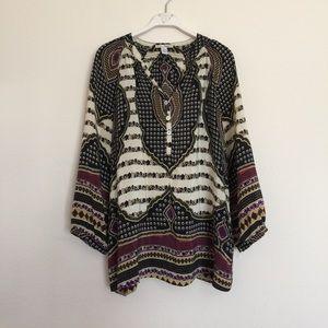 Anthropologie Tops - Trinity silk button ornate printed blouse medium