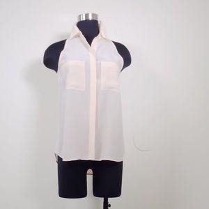 Madewell Tops - Madewell sleeveless split back silk peach blouse