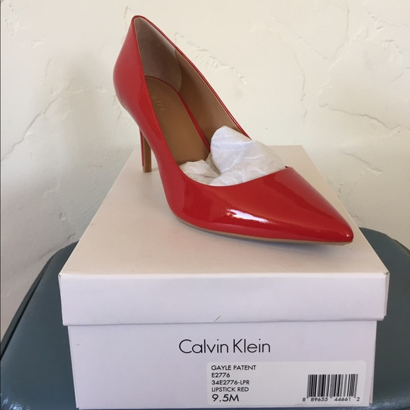 Red Patent Leather Calvin Klein Heels