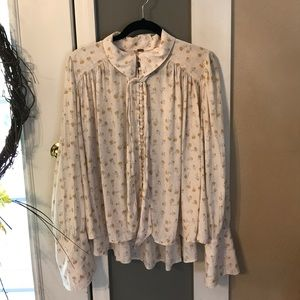 Free People Tops - Free People Cream with yellow floral top