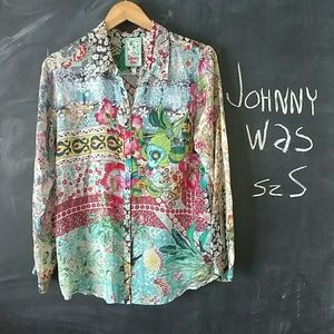Johnny Was Tops - Johnny Was Floral Button Down Top Sz S