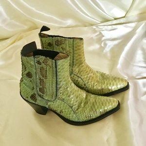Shoes - Green Crocodile Boots
