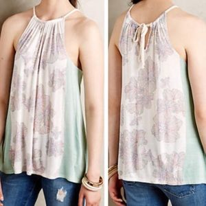 Anthropologie Deltta Printed Halter Tank With Tie