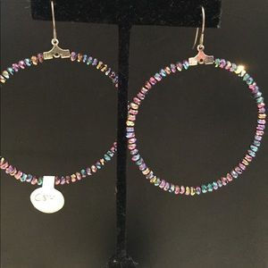 Jewelry - Purple/blue crystal hoop earrings
