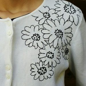 Liz Claiborne White Cardigan w/ Black Embroidery