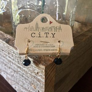 Jewelry - Black Bevel Cut Spherical Dangle Earrings