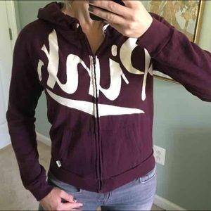 VS PINK maroon full zip hoodie M