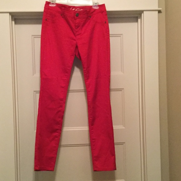 INC International Concepts Denim - INC Skinny Leg Regular Fit  Red Jeans Sz 6