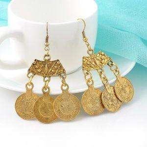 Jewelry - Boho Gypsy Gold Coachella Statement Earrings