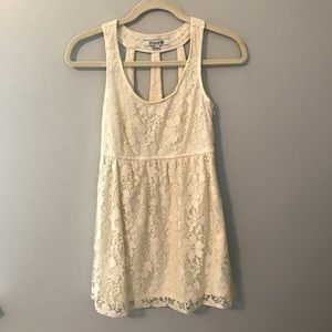 Forever 21 Cream Colored Lace Tunic Tank Top Small