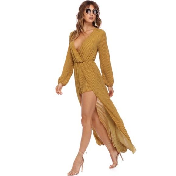 d75b0ae988cc WINDSOR Dresses | Mustard Striped Composure Shmaxi | Poshmark