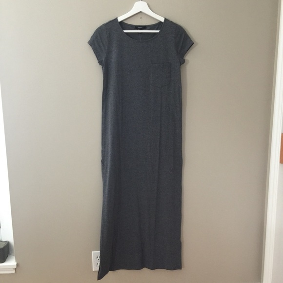 46 off forever 21 dresses skirts knit dark gray maxi for Dark grey shirt dress