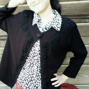 Stunning Black Beaded Cardigan - Medium