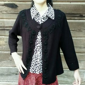 Talbots Sweaters - Stunning Black Beaded Cardigan - Medium